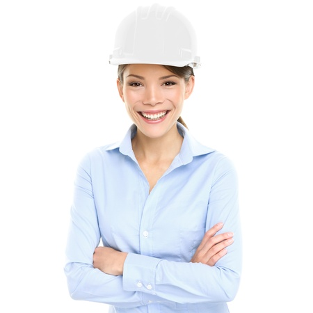 hard look: Architect, Engineer or entrepreneur business woman. Portrait of smiling happy, proud and confident young female multiracial Asian Chinese  Caucasian female professional wearing white hard hat, cutout Stock Photo