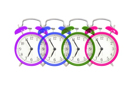 Alarm clock design on white. Colorful bell alarm clocks overlapping. photo