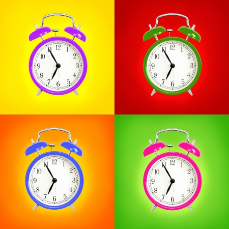 Alarm clocks isolated on colorful background. Pink, blue green and purple wake up alarm clock cut outs. Classic style bell alarm clock. photo