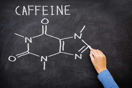 caffeine molecule: Caffeine chemical molecule structure on blackboard. Caffeine molecule drawing on chalkboard as it is found in coffee and tea etc. Stock Photo