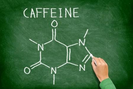 caffeine molecule: Caffeine molecule blackboard. chemical molecule structure on chalkboard. Caffeine molecule drawing on chalkboard as it is found in coffee and tea etc.