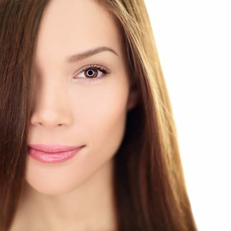 Hair care beauty woman with long hair. Female brunette beauty and hair treatment close up. Mixed race Asian Chinese  Caucasian female model in her 20s isolated on white background.