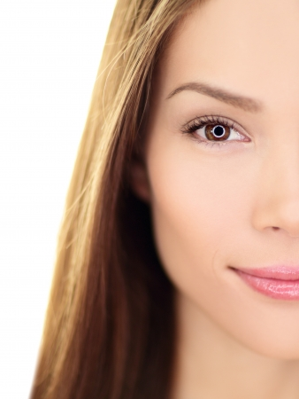 Beauty woman - perfect skin care closeup of beautiful female half face looking at camera. Gorgeous multiracial Asian Chinese  Caucasian female girl in her 20s. photo