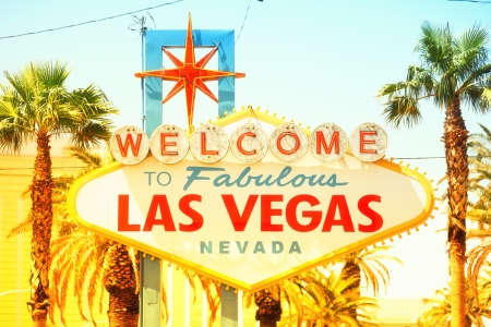 las vegas strip: Las Vegas sign. Welcome to Fabulous Las Vegas sign, Nevada. Vintage retro style with warm glowing sun sunshine.