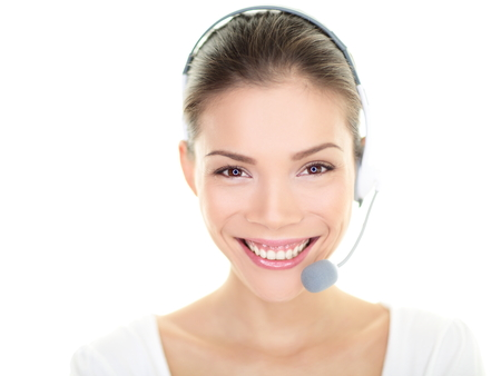 Customer service representative headset woman talking giving online help desk support photo
