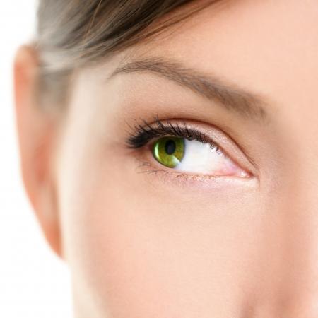 눈 근접 측면을 찾고. 아름다운 녹색은 빈 흰색 복사본 공간에서 옆으로 찾고 여성의 눈의 근접 촬영 초상화. 혼합 된 경주 아시아 백인 여성 모델. 스톡 콘텐츠
