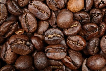 fairtrade: Coffee beans texture background closeup. Dark roast arabica coffee bean closeup.