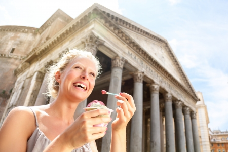 pantheon: Girl eating ice cream by Pantheon, Rome, Italy  Happy tourist woman laughing enjoying Italian gelato ice cream while sightseeing travel landmark destinations in Rome  Beautiful blonde female model