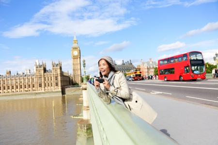 London travel woman tourist by Big Ben and red double decker bus. Girl taking photo on Westminster Bridge with smart phone camera over River Thames, London, England, Great Britain, UK. photo