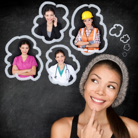 options: Career choice options - student thinking of future education. Young Asian woman contemplating career options smiling looking up at thought bubbles on a blackboard with images of different professions