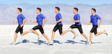 fast foot: Running man - runner in speed showing sprinting motion. Male sport athlete sprinter composite in beautiful nature landscape. Fit fitness model in fast sprint run in desert outdoor.