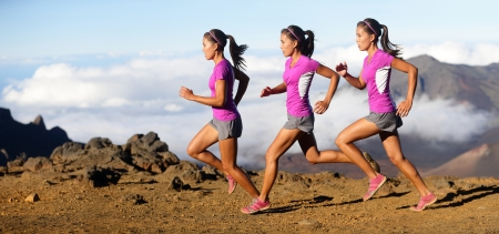 Running woman - runner in speed showing sprinting motion. Female sport athlete sprinter composite in beautiful nature landscape. Fit fitness model in fast sprint run in dramatic nature landscape. Banco de Imagens