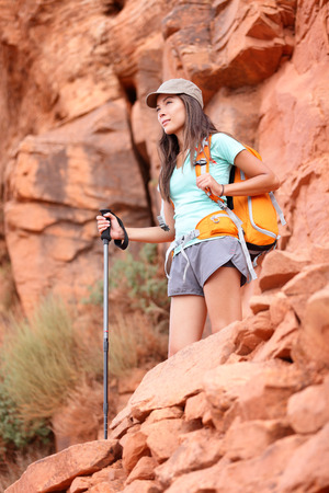 south kaibab trail: Hiker. Hiking woman enjoying view during hike in Grand Canyon, USA