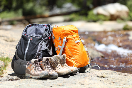 hiking boots: Hiking backpacks and hiker shoes Stock Photo