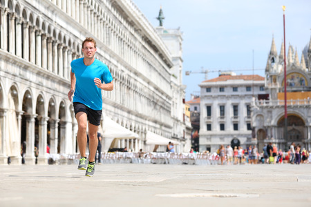 piazza san marco: Runner man jogging and running in Venice Stock Photo