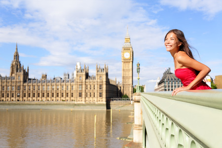 London woman on Westminster Bridge by Big Ben, England. Beautiful tourist girl sightseeing travel on Westminster Bridge, London, England, United Kingdom. Elegant multiracial female model in red dress. photo