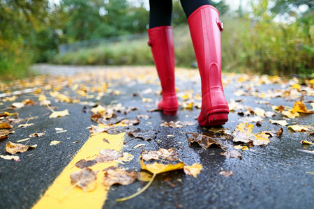 rainy: Autumn fall concept with colorful leaves and rain boots outside. Close up of woman feet walking in red boots. Stock Photo