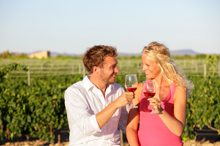 Red wine drinking couple toasting at vineyard.