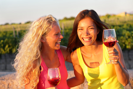Happy women friends drinking red wine laughing in vineyard in summer. Stock Photo