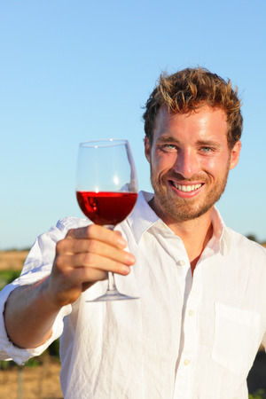 french countryside: Man drinking rose or red wine toasting looking at camera at vineyard. Handsome man drinking from wine glass outdoors.