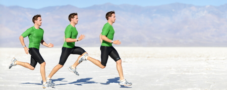 fast foot: Athlete running man - runner in speed showing sprinting motion. Male sport athlete sprinter composite in beautiful nature landscape. Fit fitness model in fast sprint run in outdoor in nature.