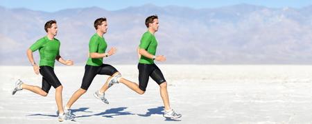 Sportler laufen Mann - Läufer in der Geschwindigkeit zeigt Sprinten Bewegung. Männersport Athlet Sprinter Verbund in der schönen Naturlandschaft. Fit Fitness-Modell in schnellen Sprint in Freien in der Natur laufen.
