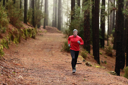 Man running in forest woods training and exercising for trail run marathon endurance race. Fitness healthy lifestyle concept with male athlete trail runner. photo