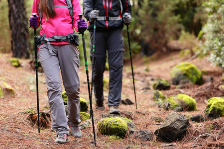 Hiking - Hikers walking in forest with poles on path in mountains. Close up of hiker shoes boots and hiking sticks poles. Man and woman hiking together. photo