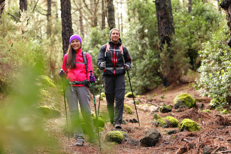 healthy path: Hiker couple backpackers hiking in forest on path in mountains. Multiracial woman and man living healthy active lifestyle enjoying nature in La Esperanza forest, Tenerife, Canary Islands, Spain.