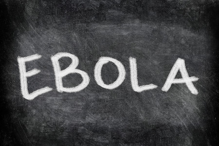 writting: Ebola virus disease text on Blackboard. EBOLA writting on chalkboard. Education concept.
