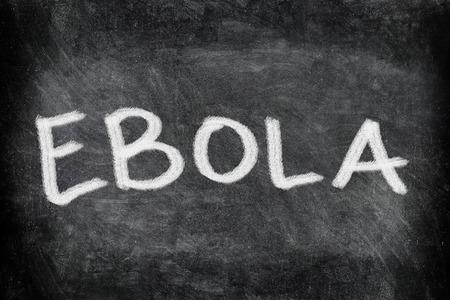 viral strain: Ebola virus disease text on Blackboard. EBOLA writting on chalkboard. Education concept.