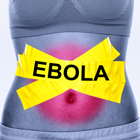 Ebola virus infection. Text on woman stomach symbolizing patient. Ebola symptoms inlcudes nausea, vomiting, diarrhea and stomach pain. photo
