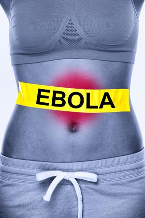 diarrea: Infección por el virus de Ébola. Texto en estómago de la mujer que simboliza paciente. Síntomas del Ébola inlcudes náuseas, vómitos, diarrea y dolor de estómago.