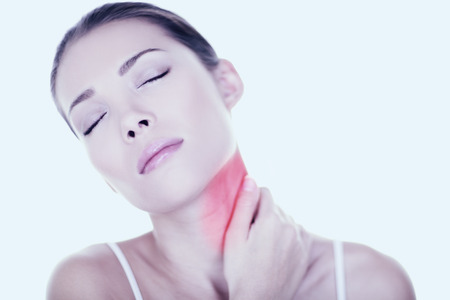 hurting: Neck pain woman need back massage. Neck pain muscle stress and strain - Unhappy tense stressed Asian woman massaging neck. Massage wellness concept with female beauty model. Mixed race Asian Caucasian