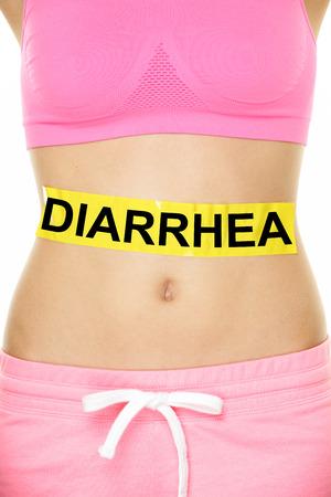 diarrhoea: Diarrhea and food poisoning concept. DIARRHEA text written on female abdomen stomach.