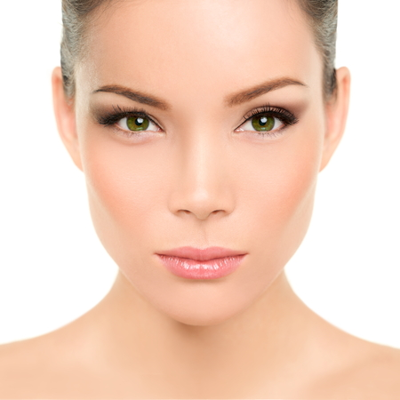 noses: Beautiful asian woman with green eyes and perfect beauty makeup. Mixed race chinese caucasian young girl with green eyes cosmetic concept. Perfect features and skin.