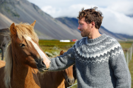 Icelandic horses - man petting horse on Iceland. Man in Icelandic sweater going horseback riding smiling happy with horse in beautiful nature on Iceland. Handsome Scandinavian model. Фото со стока