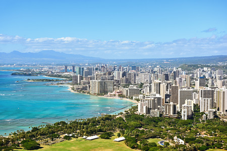 sunny sky: Honolulu and Waikiki beach on Oahu Hawaii. View from the famous Diamond Head hike from Diamond Head State Monument and park, Oahu, Hawaii, USA.