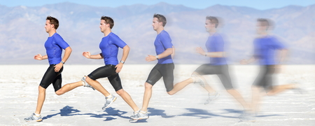 Running and sprinting man at great speed. Composite of male athlete runner sprinting fast on run in beautiful landscape. Sprinter in motion blur fast showing running movement.