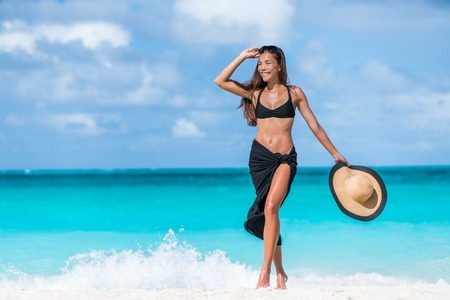 Woman in black bikini and sarong walking on beach. Elegant girl wearing fashion beachwear putting on sunglasses and straw hat for sun uv protection enjoying her summer vacation in the Caribbean.