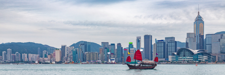 Hong Kong skyline banner panorama crop with junk boat. China destination travel. Stock Photo