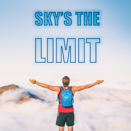 SKYS THE LIMIT motivation text written on sky background. The sky is the limit for your success. Man with open arms inspirational picture for motivational quote for life challenges. Reach your goals.
