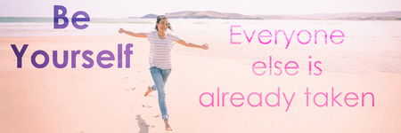 Be yourself; everyone else is already taken self confidence motivational quote for happiness and self -esteem boost. Positive quotes for motivation and inspiration in life. Banner panorama crop.