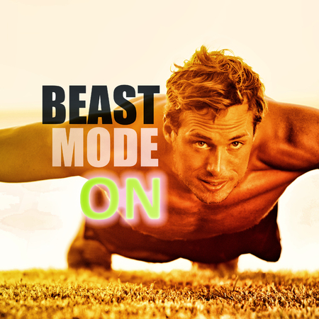 Fitness man working out exercise at gym inspirational quotes. BEAST MODE ON motivational quote written over athlete training push ups on grass, focus and endurance. Weight loss motivation. Stok Fotoğraf