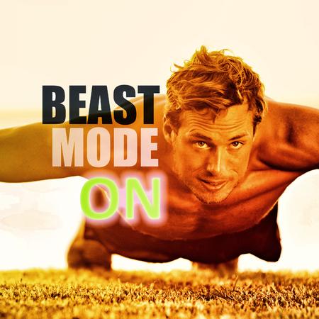 """Geschiktheidsmens die oefening uitwerken bij gymnastiek inspirational citaten. """"BEAST MODE ON"""" motiverende quote geschreven over pushtrainingen voor sporters op gras, focus en uithoudingsvermogen. Gewichtsverlies motivatie."""