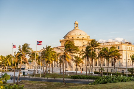 Puerto Rico San Juan Capital District Capitol building. USA travel cruise destination in Latin America. Street view of famous landmark marble dome in city near Old San Juan. Stockfoto