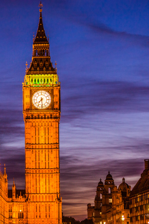 Big Ben Clock Tower at night - London travel. Parliament house at city of Westminster, London, England, Great Britain, UK. Europe travel destination. Stock Photo