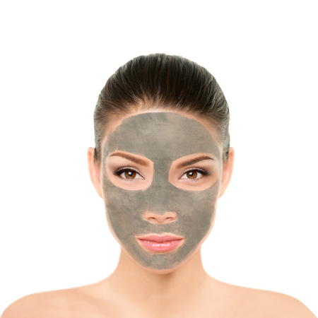 Clay mask purifying mud facial treatment for women. Asian beauty woman face for cleansing skin product. Natural cleaning cream for skincare wellness glow to remove impurities, blackheads.