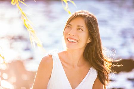 Beautiful Asian woman portrait in spring.