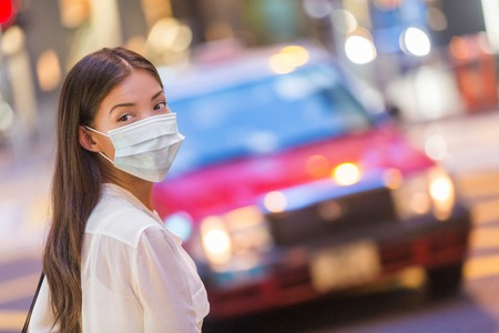 Flu disease virus spreading protection mask protective against influenza viruses and diseases. Asian woman wearing surgical mask on face in public spaces. Healthcare.